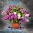 Lilac flowers in jug — Stock Photo #64997385