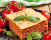Tasty flavorful lasagna on plate — Stock Photo