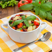 Minestrone in white plate — Stock Photo