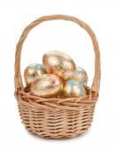 Gold easter egg isolated on white background — Stock Photo