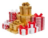 Gift boxes isolated on white background — Stock Photo