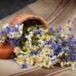 Camomile and cornflowers in a basket on table — Stock Photo #76130479