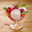 Ice cream with fruits and cherries on boards — Стоковое фото #76568531