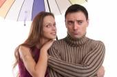 Couple with umbrella — Stock Photo