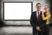 Gray concrete wall  with digital screen — Stock Photo