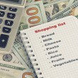 Shopping list and money — Stock Photo #69608067