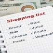 Shopping list and money — Stock Photo #69608077