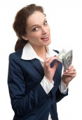 Young business woman holding money — Stock Photo