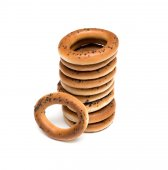 Bagels with poppy seed isolated on white background — Stock Photo