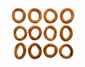Ring bagels on a white background — Stock Photo