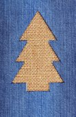 Christmas tree from denim — Stock Photo