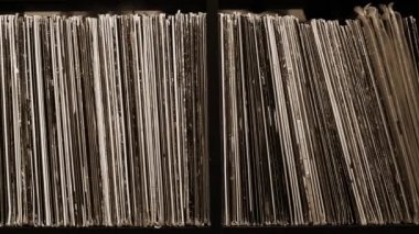 Stack of old vinyl records — Stock Video