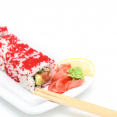 Sushi roll Alyaska  on white plate — Photo