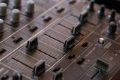 Dj sound mixer  with knobs and sliders — Stok fotoğraf
