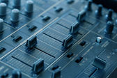 Dj sound mixer  with knobs and sliders — Stock Photo