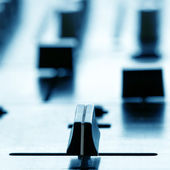 Crossfader on dj mixer in club — Stock Photo