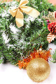 Decoration toys on new year tree branch — Stock Photo