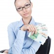 Businesswoman  with euros in hand — Stock Photo #58545219