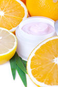 Fruit organic nutrition facial cream — Stock Photo