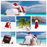 Natal na colagem de praia do Caribe — Fotografia Stock  #62217241