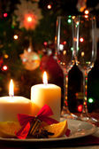 Christmas decoration on dining table — Stock Photo