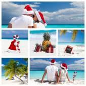 Christmas on caribbean beach collage  — Stock Photo
