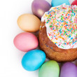 Easter cake and painted eggs — Stock Photo #62225337