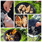 Collage with process of cooking raw spicy chicken fillet on gril — Stockfoto