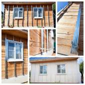 Collage with process of external wall insulation in wooden house — Stockfoto