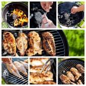 Collage avec le processus de cuisson filet de poulet épicé cru sur le gril — Photo