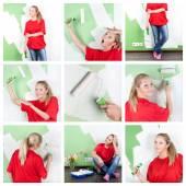 коллаж молодой женщины с инструментами краски дома интерьер — Стоковое фото