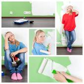 Collage of young woman with paint tools at home interior — Stock Photo