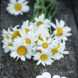 Beautiful fresh daisies decorated with hearts on wooden texture — Stock fotografie #67385491