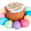 Easter cake and painted eggs — Stock Photo #67387239