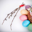 Easter cake and painted eggs — Stock Photo #67391545