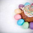 Easter cake and painted eggs — Stock Photo #67391591