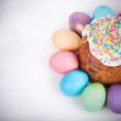 Easter cake and painted eggs — Stock Photo #67391605
