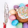 Easter cake and painted eggs — Stock Photo #67391663