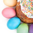 Easter cake and painted eggs — Stock Photo #67391679