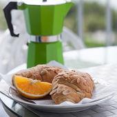Breakfast with coffee on balcony — Stock Photo