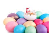 Chicken toy on easter eggs closeup — Stock Photo