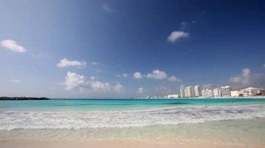 Cancun beach panorama view — Stock Video