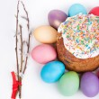 Easter cake and painted eggs — Stock Photo #71777123