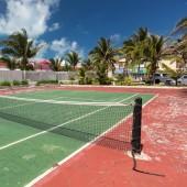 Outdoor tennis net at court — Stockfoto