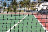 Tennis net, outdoor at empty court — Stock Photo