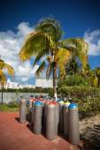 Scuba air tanks outdoors — Stock Photo