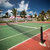 Outdoor tennis net at court — Stock Photo