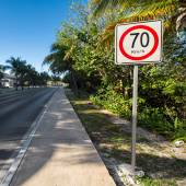 Seventy kilometers per hour speed limit on tropical  road — Stock Photo