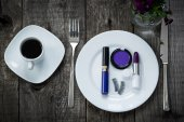 Toops for bright happy morning. Coffee and cosmetics — Stock Photo