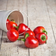 Red hot chilli peppers in little bucket — Stock Photo #54364781
